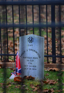 Capt. Philip J. Thurmond, who died while trying to wrest Winfield from Union hands, is buried in this fenced plot behind historic Hoge House.