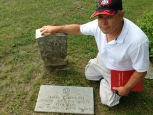 Eddie Phillips visits the grave of his great-great-grandfather, James Taylor Jenkins, in Pleasant Mound Cemetery, Dallas County, Texas.